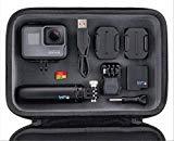 Pack GoPro Hero5 Black - Cámara deportiva 12 MP (4K, 1080p, WIFI + Bluetooth, control por voz, pantalla táctil) + GoPro Shorty (vara de extensión y trípode) + tarjeta SD 16GB + batería + carcasa