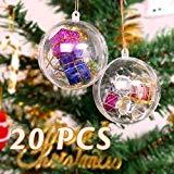 Mbuynow 20Pcs Bola de Navidad Adorno de DIY Transparente Bolas Vacío Rellenable Plástica - 10CM