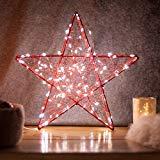 SnowEra Luz LED Decorativa de Metal en Forma de Estrella Color Rojo - Adorno de Navidad con 140 microLED de Color Blanco Cálido - Estrella Luminosa