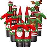 6 Juegos de Funda de Botella de Vino de Navidad Cubierta de Botella de Vino de Papá Noel Reno Muñeco de Nieve para Decoración de Navidad Decoraciones de Fiesta de Navidad Suéter (Color 1)