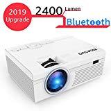 Biga SUO Bluetooth Proyectores, LED 2400lúmenes Mini HD Proyector de Cine en casa Soporte 1080P Video HDMI VGA Instalación para Smartphone, iPhone, iPad, Laptop