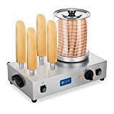 Royal Catering Máquina de Perritos Calientes Profesional con 4 Pinchos RCHW 2300 (2 x 300 Watt, Temperatura 0-95 °C, Altura del cilindro 24 cm, Ø 20 cm)