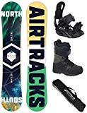 AIRTRACKS Snowboard Set - Board North South 159 - Fijaciones Master - Softboots Star Black 44 - SB Bag
