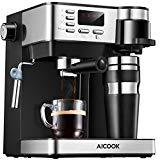 Aicook Cafetera Multifuncion 3 en 1 Espresso, Goteo y Espumador Máquina de café Expresso de 15 Bares y cafetera un Solo Servicio con Taza para café, Leche fría para Capuchino y café con Leche, Negro
