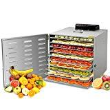 Kwasyo Deshidratador de Alimentos Acero Inoxidable Libre de BPA, Deshidratadora de Frutas y Verduras con Pantalla LCD, Temperatura 30-90?, Temporizador, Hierbas, Nueces, Yogurt, 8 Bandejas, 400W