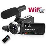 Videocámara WiFi Camara de Video HD 1080P 30FPS 24.0MP Cámara Web con Pantalla táctil LCD Videocámara de visión Nocturna con micrófono y Control Remoto (versión actualizada 2019)