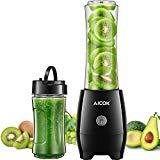 Aicok Batidora de Vaso Individual, Mini Batidora Smoothies, Sin BPA, 2 Vasos Portátiles de 600 ml y 350 ml, Licuadoras para Zumos de Verduras y Frutas, 300W