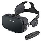 AOGUERBE VR Gafas, 3D VR Headset Auriculares de Realidad Virtual Box Virtual Glasses Controlador Bluetooth Compatible con iPhone X/8/8 Plus 7/7 Plus/6S/6 Samsung S8 / S7 & 4-6 '' Smartphones - Negro