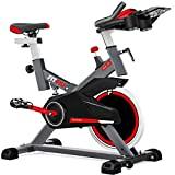 FITFIU BESP-100 - Bicicleta Spinning Indoor resistencia regulable con disco inercia 16kg, Bici Entrenamiento Fitness con sillín ajustable, Pulsómetro y pantalla LCD