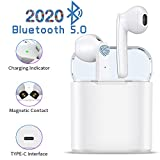 H1- TWS Auriculares Bluetooth 5.0, Toque Inteligente Auriculares inalámbricos, Auriculares deportivos impermeables IPX7, Auriculares estéreo 3D-HIFI, Emparejamiento emergente automático - Blanco