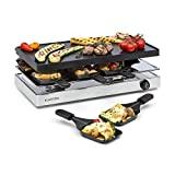 Klarstein Gourmette Raclette con Plancha de Aluminio - Raclette-Barbacoa, Fiestas de Barbacoa, 8 Personas, 1200 W, Termostato, Regulable, Carcasa de Acero, 3 Pisos, Accesorios