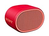 Sony SRSXB01R - Altavoz inalámbrico portátil (Compacto, Bluetooth, Extra Bass, 6h de batería, Resistente al Agua IPX5, Viene con Correa) Color Rojo