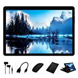 YESTEL Tablet 10 Pulgadas Android Tableta 4GB RAM + 64GB ROM + Expandido 128G Pantalla HD IPS y Quad Core Dual SIM LTE/WiFi 8000mAh Batería con Mouse y Teclado-Negro