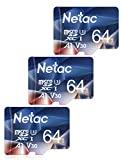 Netac Tarjeta de Memoria Micro SD 64 GB, Tarjeta microSDXC con Velocidad de Lectura hasta 100 MB/s (Micro SD Clase 10, U3, V30 y A1) Micro SD para Nintendo Switch, Movil y Dashcam etc (Packs 3)