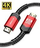 Cable HDMI 4K JSAUX Cable HDMI 2M Ultralíptico de Alta Velocidad de 18 Gbps Soporte 3D, Video 4K@60Hz, UHD 2160P, HD1080P, Ethernet para Fire TV, Apple TV, Xbox Playstation PS4 PS3 PC-Negro