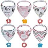 Baberos baberos bandana para bebé, paquete de 6 y juguetes para dentición, hechos con 100% algodón orgánico, absorbentes y suaves, unisex (6 unidades para niña)