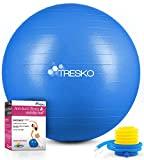 TRESKO® Pelota de Gimnasia Anti-Reventones   Bola de Yoga Pilates y Ejercicio   Balón para Sentarse   Balon de Ejercicio para Fitness   300 kg   con Bomba de Aire   Azul   75cm