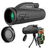 Telescopio Monocular, innislink 12x50 monocular HD Monoculares Telescopio BAK4 FMC Prisma con adaptador de teléfono y trípode, impermeable a Antivaho Para caza acampar observación aves juego de fútbol