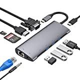 Hub USB C 11 en 1, Adaptador USB C con HDMI 4K, USB-C Power Delivery, 1080P VGA, RJ45 Gigabit Ethernet, Lector de Tarjetas SD/TF, USB 3.0/2.0, 3.5mm de Salida de Audio para Macbook Pro