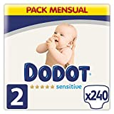 Dodot Pañales Bebé Sensitive Talla 2 (4-8 kg), 240 Pañales, Óptima Protección de la Piel de Dodot, Pack Mensual