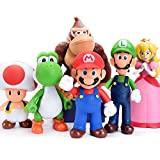 BSNOW Juego de 6 figuras de Super Mario para niños, figuras de Mario y Luigi, figuras de acción Yoshi & Mario Bros figuras de juguete de PVC Mario