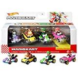 Hot Wheels Mario Kart Primera Aparición Pack con 4 Mini Coches de Juguete con Personaje, Regalo para Niños +3 Años (Mattel GWB37)