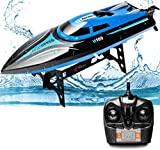Rabing Barco de control remoto 2.4G, piscina de lago al aire libre de alta velocidad, bote de juguete con radio de 30 km / h para adultos y niños, bote de carreras de control remoto recargable